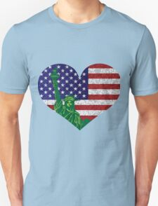 4th of July Heart Flag and Statue of Liberty Unisex T-Shirt
