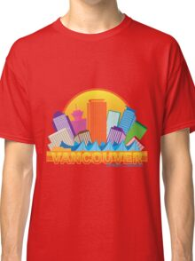 Vancouver BC Canada Skyline Circle Color Illustration Classic T-Shirt