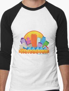 Vancouver BC Canada Skyline Circle Color Illustration Men's Baseball ¾ T-Shirt