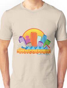 Vancouver BC Canada Skyline Circle Color Illustration Unisex T-Shirt