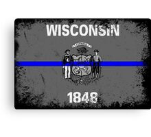 Blue Line Wisconsin State Flag Canvas Print