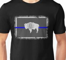 Blue Line Wyoming State Flag Unisex T-Shirt