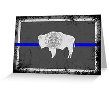 Blue Line Wyoming State Flag Greeting Card