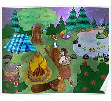 Woodland Critters Under the Stars Poster