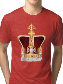 English Coronation Crown Jewels Illustration Tri-blend T-Shirt