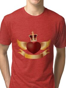 Flying Heart with Crown Jewels Illustration Tri-blend T-Shirt