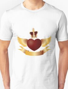 Flying Heart with Crown Jewels Illustration Unisex T-Shirt