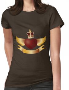 Flying Heart with Crown Jewels Illustration Womens Fitted T-Shirt