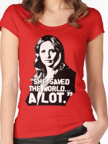 """BUFFY SUMMERS: """"She saved the world... A lot."""" Women's Fitted Scoop T-Shirt"""