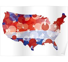 USA Map with Red White Blue Circle Pattern Poster