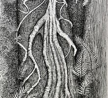Serpentine vine structure pen drawing by Alison Murphy