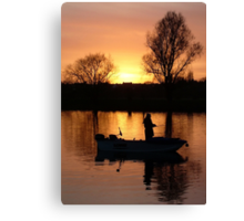 Fishing on the River Dee in Chester England Canvas Print