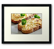 Oven baked toast with cheese and ham Framed Print