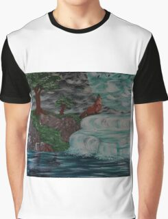 wolf by the falls Graphic T-Shirt