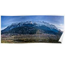 Winter landscape with rocky mountains Poster