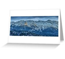 Winter landscape with rocky mountains Greeting Card