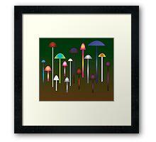 Colored Mushroom Forest Framed Print