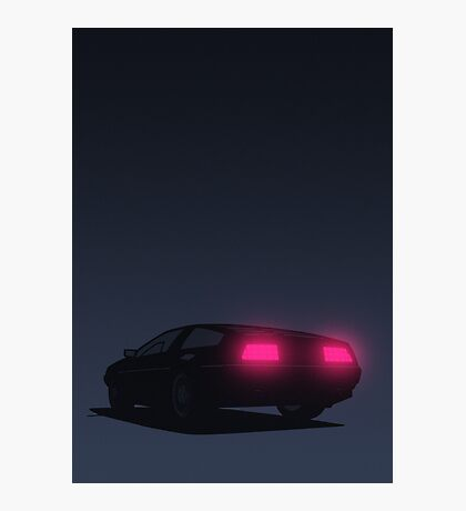 DeLorean tail lights (Blue) Photographic Print