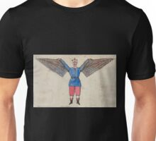 0184 ballooning Humorous portrayal of a man who flies with wings attached to his tunic Unisex T-Shirt