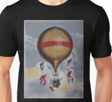 0382 ballooning Balloon labeled H Lachambre with two men riding in the basket Unisex T-Shirt