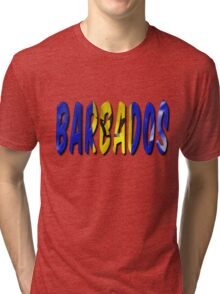 Barbados Word With Flag Texture Tri-blend T-Shirt