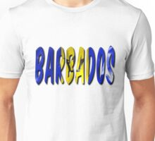 Barbados Word With Flag Texture Unisex T-Shirt