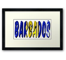 Barbados Word With Flag Texture Framed Print