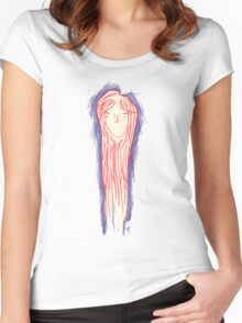 Long haired girl Women's Fitted Scoop T-Shirt
