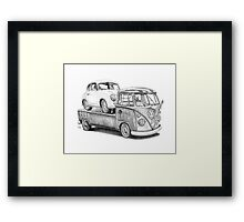 Volkswagen Type 2 Bus Porsche Pencil Drawing Wall Art Print Signed Pictures Framed Print