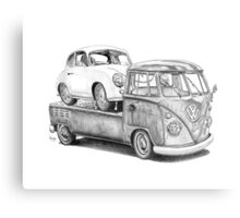 Volkswagen Type 2 Bus Porsche Pencil Drawing Wall Art Print Signed Pictures Metal Print