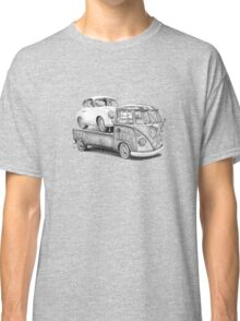Volkswagen Type 2 Bus Porsche Pencil Drawing Wall Art Print Signed Pictures Classic T-Shirt