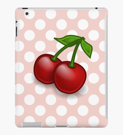 Cherries, Leaves, Stems, Fruits - Red Green iPad Case/Skin