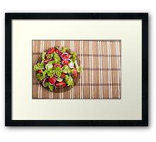 Top view of vegetarian salad from fresh vegetables Framed Print
