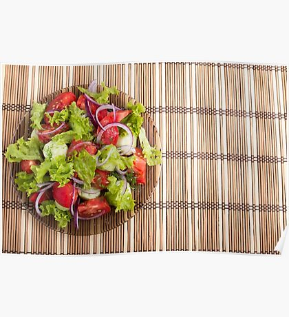 Top view of vegetarian salad from fresh vegetables Poster