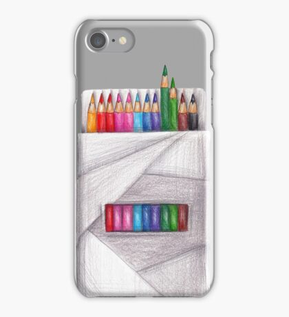 box of crayons. color pencil iPhone Case/Skin