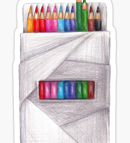 box of crayons. color pencil Sticker