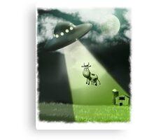 Comical UFO Cow Abduction Canvas Print