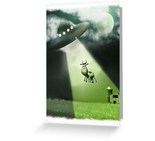 Comical UFO Cow Abduction Greeting Card