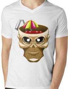 skull fruit punch funny vector art yummy brain juice Mens V-Neck T-Shirt