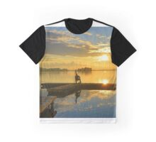 Drifting Fisher Watching Sunset over a Lake Graphic T-Shirt