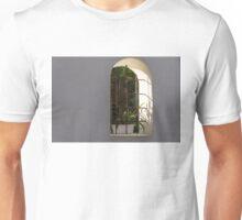 Peeking Through the Garden Fence Window - Geometric Bars and Shadows Unisex T-Shirt