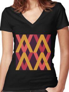 Color Block Autumn Palette Women's Fitted V-Neck T-Shirt