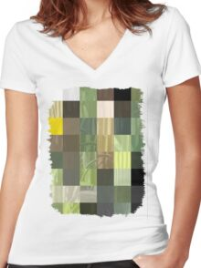 Cactus Garden Abstract Rectangles 3 Women's Fitted V-Neck T-Shirt