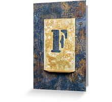 Letter F Greeting Card