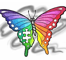 Rainbow Puzzle Piece Butterfly by Sandra Gale