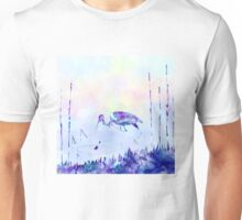 Stork Landscape In Alcohol Ink Art Unisex T-Shirt