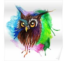 Watery Owl Painting Poster