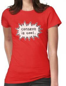 Consent is Cool Comic Flash Womens Fitted T-Shirt