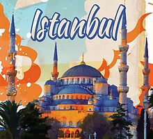 Istanbul Vintage Travel poster by Nick  Greenaway