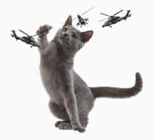 catplay with tiger helicopters Kids Tee